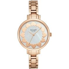 kate spade new york KSW1036 Women's Gramercy Valentine's Motif... ($300) ❤ liked on Polyvore featuring jewelry, watches, rose gold jewelry, silver jewelry, kate spade, rose gold wrist watch and polish silver jewelry