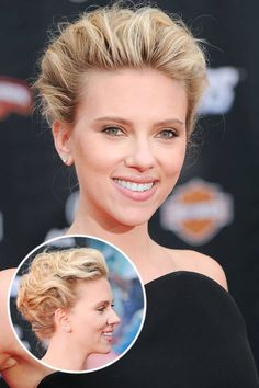 Whether her hair is long or short, Johansson isn't afraid to play with texture. Teasing and curling hair is all in a day's work for the spotlight-stealing actress—and the results are as great for an aisle as they are for a red carpet. Short Wedding Hair, Wedding Hair And Makeup, Wedding Updo, Wedding Ceremony, Chic Wedding, Bridal Updo, Best Wedding Hairstyles, Curled Hairstyles, Bridal Hairstyles