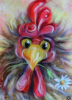 Rooster Painting, Rooster Art, Chicken Painting, Chicken Art, Tableau Pop Art, Art Fantaisiste, Chicken Pictures, Chickens And Roosters, Felt Art