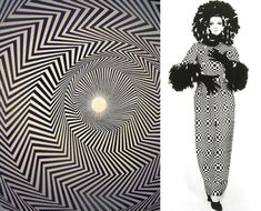 Op Art is optical art that stems from optical illusions. It consists of abstract patterns on a contrasting background. Paintings are often black and white.