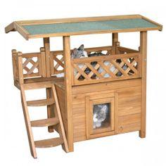 Kattenhuis Lodge - geschikt voor binnen en buiten - Afmeting: 77 x 50 x 73 cm. Dit stijlvolle kattenhuis is een bestseller en biedt een goede bescherming tegen kou en regen. Op het dakterras kan heerlijk worden uitgerust. Het met watervast bitumen beklede dak biedt de nodige bescherming tegen direct zonlicht en warmte op hete dagen. € 84,95