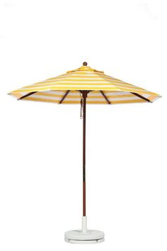 Beautiful Yellow and White Striped Patio Umbrella