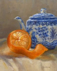 """""""Orange With Japanese Teapot"""" Oil on canvas 10"""" x 8"""". The blue and orange complimentary color combination has always been a favorite for me.  I can get some lovely grays with a limited palette also that are wonderful for the background and shadows."""