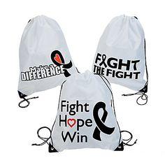 Black Ribbon Awareness Drawstring Backpack