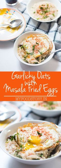 Garlicky Oats with Masala Fried Eggs for a creative twist to the humble oats. A quick and healthy breakfast option for when you are in a hurry, but still want some fueling up. Super flavorful too! #healthy #breakfast #oats #wholegrains