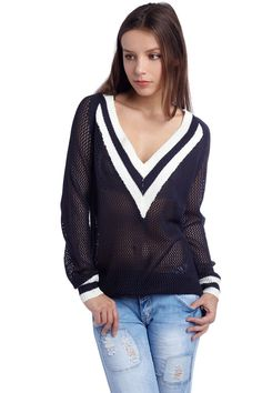 Q2 Navy Blue Tennis Style Sweater With V-Neckline Free Shipping On All Orders Over $79 #Sweaters #Q2 #unspokenfashion #fashion #onlineshopping #boutique #stylish #trending #clothing #shoes