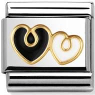 Nomination stainless steel and gold Double heart, Black and White Charm with Enamel Nomination Bracelet, Nomination Charms, Black Gold, Black And White, Classic Elegance, White Enamel, 18k Gold, Bling, Charmed