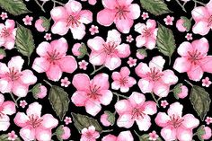 Pink sakura floral seamless pattern by Art By Silmairel on @creativemarket