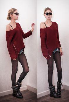 Sheinside Pullover, Zara Boots