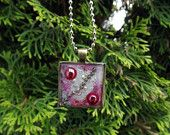 Raspberry and silver artistic wearable art Resin Jewelry Pendant -Three Demensional by Terripoppinscrafts