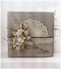 New flowers wedding card layout Ideas Pretty Cards, Cute Cards, Diy Cards, Karten Diy, Shabby Chic Cards, Card Tags, Flower Cards, Creative Cards, Scrapbook Cards