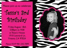 Pink Zebra Birthday Invitations - Hot Pink Zebra Birthday Invitations