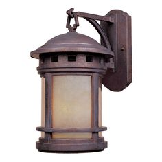 Outdoor Wall Light with Amber Glass in Mediterranean Patina Finish | 2391-AM-MP | Destination Lighting