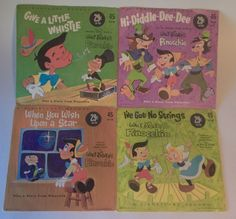 """Pinocchio 45 RPM 7"""" Vinyl Record Disney Lot of 4 Diddly Dee Wish Upon a Star"""