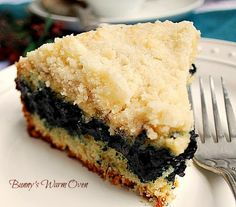 Blueberry Coffee Cake...a delicious tender fruit filled coffee cake.
