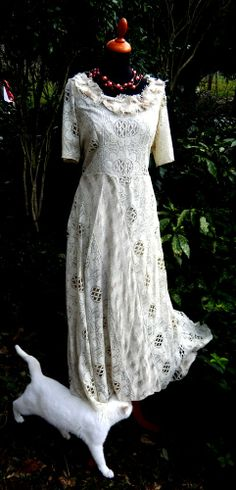 Nottingham lace with silk tussah . a perfect garden wedding  one of a kind dress at Ms. Emma's/ Toronto