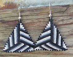 Black White and Grey Seed bead earrings Triangle by Anabel27shop,