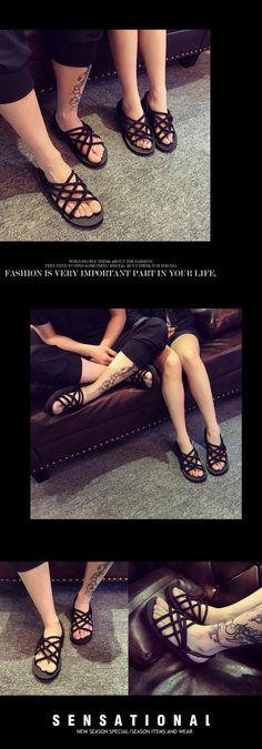 Aliexpress.com: Comprar Nuevos Hombres de la Moda Sandalias cortes Casual Zapatos Planos de Playa Unisex mujeres y Los Hombres de Las Sandalias de Punta Abierta Correa Cruzada Masculina de Verano zapatos de sandalias para las mujeres 2012 fiable proveedores en HaWa 8