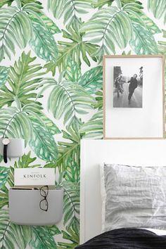 motif de feuilles aquarelle tropical fond d cran amovible aquarelle feuilles de papier peint. Black Bedroom Furniture Sets. Home Design Ideas