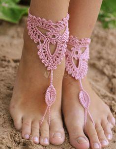 Böhmische hübsch rosa häkeln Frau barfuss Sandalen