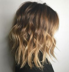Choppy Lob with Blonde Balayage Ombre