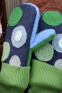 Felted Wool Mittens Blueberry PieUpcycled Clothing by whimsiedots, $25.00