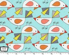 Birds of a Feather - Tweet Aqua from Michael Miller - 1 yard    100% Cotton. Machine Wash Cold. Dry Low. 44/45 inches wide. Great for quilting and