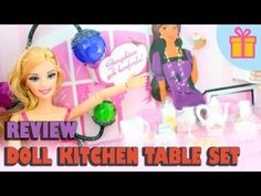 Doll review: Kitchen Table Set - Table, Chairs, Food, Pet, Doll, etc - YouTube