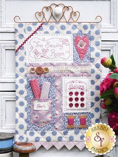 """""""The Sewing Room"""" designed by Sally Giblin for The Rivendale Collection. Includes instructions for stitchery, applique and wallhanging. Finished size: 12 x 20 inches x 51 cm) Sewing Art, Sewing Rooms, Sewing Crafts, Baby Sewing, Patchwork Patterns, Quilt Patterns, Sewing Patterns, Patchwork Quilting, Dress Patterns"""