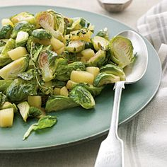 Roasted Brussels Sprouts and Apples. Seriously the best recipe. Turn any brussel sprout hater into a lover.  | MyRecipes.com