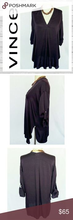 Vince Stretch Silk V-Neck Tunic Sz M Vince Stretch Silk V-neck rolled sleeve tunic. Excellent previously loved condition. Deep eggplant color. Elegant blouse and amazingly versatile. Sorry no trades. Vince Tops Tunics