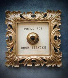Press For Room Service Framed Vintage Button