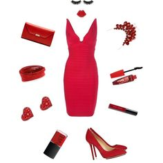 Red V Neck Bandage Dress by bandage-dresses on Polyvore featuring Hervé Léger, Charlotte Olympia, Mark Cross, Lulu Guinness, Swarovski, Rimmel, Bobbi Brown Cosmetics, Boohoo and NARS Cosmetics