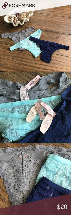 3 Lacey VS NWT Panties! A Little Bit Sexy & Sweet! The first pair is a thong in seductive gray with beautiful lace detail on the front -  from the Dream Angels line. The other two are sweet in seafoam and navy and both have ruching on the back for optimal cheekiness! All three for list price! Victoria's Secret Intimates & Sleepwear Panties