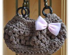 PDF Crochet Pattern - Handbag with wood Handles