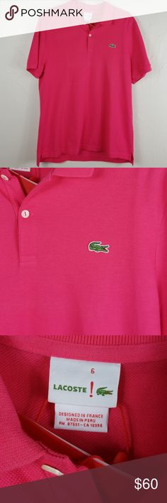8c91815b23 Lacoste Slim Fit Rose Polo Pit to pit Length front back Lacoste Shirts Polos