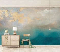 Abstract Blue Sea Gold Murales Photo Wallpaper Hand Oil Painting Home Wall Decor Murals Custom Panneau Canvas Mural Custom Wallpaper, Photo Wallpaper, Wall Wallpaper, Adhesive Wallpaper, Paper Wallpaper, Tapete Gold, Image Deco, Watercolor Walls, Cleaning Walls
