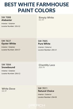 Our curated list of the best 8 white paint colors for your modern farmhouse exterior! Our curated list of the best 8 white paint colors for your modern farmhouse exterior! White Exterior Paint, Exterior Paint Colors, Exterior House Colors, Exterior Design, Bungalow Exterior, Exterior Siding, Craftsman Bungalows, Exterior Remodel, Neutral Paint Colors