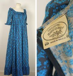 This is what dreams are made of! Stunning Laura Ashley 70s dress made in Regency style with a high fitted empire bust, square cut neckline,