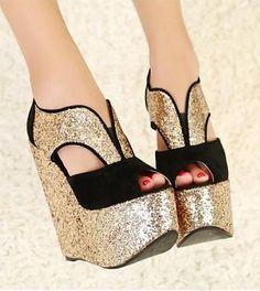 Comprar Zapato sexy con destellos de plataforma alta casual muy cómodos para mujeres lindas - DannaFashion.com