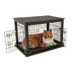 Petmate Indoor Wooden Wire Kennel