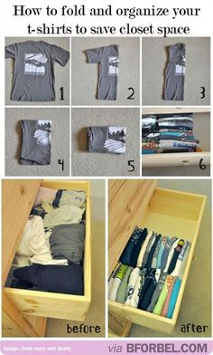 Organizing Life Hacks How to fold and organize your t-shirts, to save closet space.How to fold and organize your t-shirts, to save closet space. Organiser Son Dressing, Organizar Closet, College Life Hacks, Dorm Life, College Tips, Ideas Para Organizar, Home Hacks, Diy Hacks, Getting Organized
