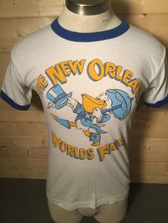 Vintage 1984 Worlds Fair Cartoon Tourist 50/50 Ringer T-Shirt Great Color Made in USA by 413productions on Etsy
