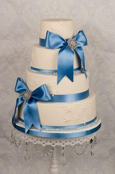 Wedding cake with swarovski crystal trim cornflower blue ribbon Wedding Cake Decorations, Wedding Cake Toppers, Wedding Cakes, Quince Cakes, Bow Cakes, Diana Wedding, Bridal Shower Cakes, Elegant Cakes, Love Cake