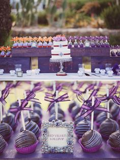 Wedding Trend: Cake Pops - purple cake pops, photo by Stephanie Williams Photography