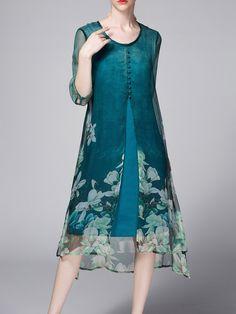 Shop Midi Dresses - Slit Floral Polyester Elegant Half Sleeve Midi Dress online. Discover unique designers fashion at StyleWe.com.