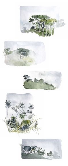 Prête moi tes yeux : le brouillard dans la jungle I Watercolor Trees, Watercolor Sketch, Watercolor Landscape, Watercolor Journal, Watercolor Illustration, Watercolour Tutorials, Watercolor Projects, Watercolor Techniques, Art Techniques