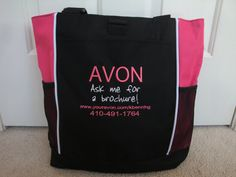Tote Bag Custom Embroidered AVON Ask for Brochure by HTsCreations