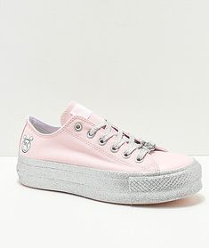 57ae1a2ad71 Converse x Miley Cyrus Lift Pink Glitter Shoes