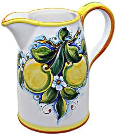 Italian Ceramic Majolica Pitcher with Lemons